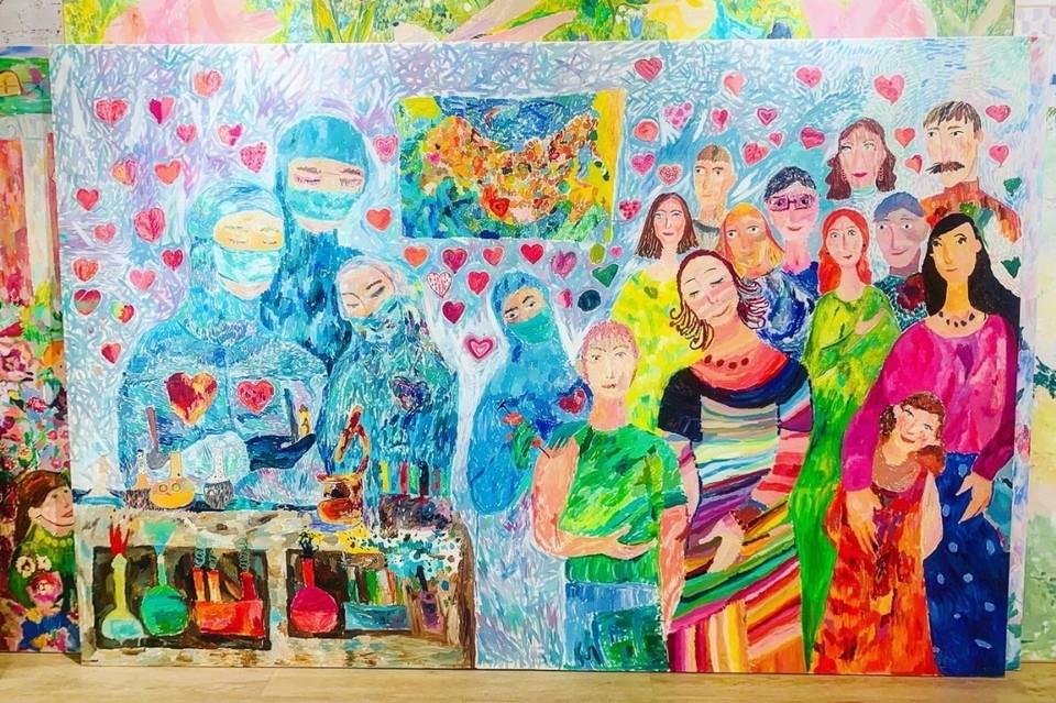Петербургские дети нарисовали огромную картину в благодарность врачам, которые борются с коронавирусом. Фото: vk.com/mi_risyem