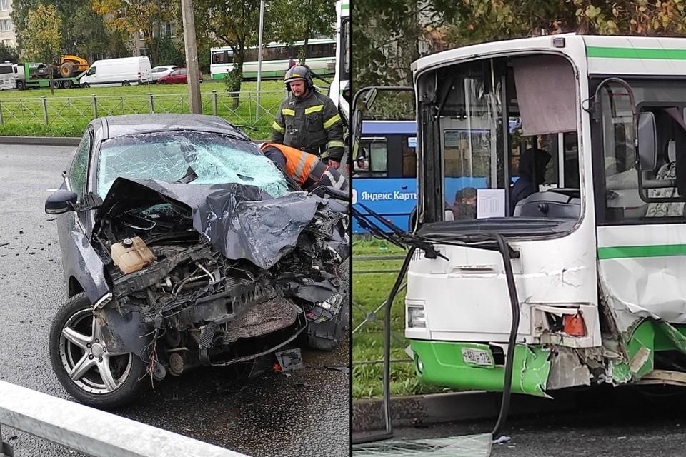 Появились подробности лобового ДТП иномарки и автобуса в Колпино. Фото: СОЦСЕТИ